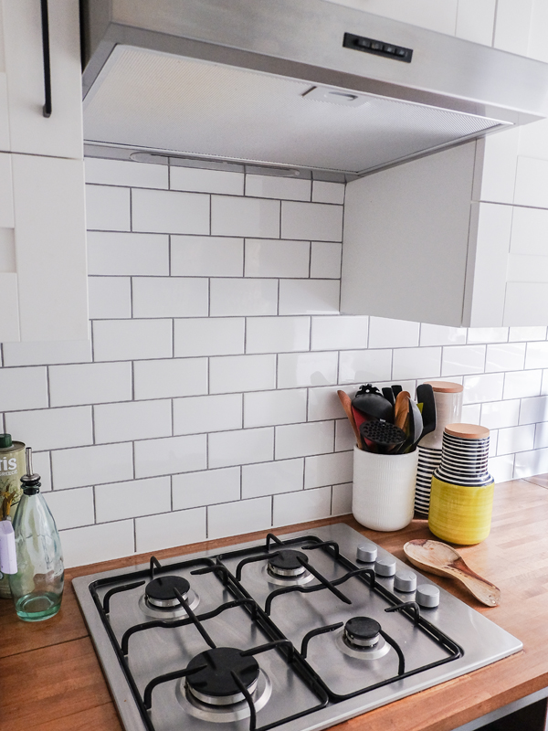 Kitchen Progress Subway Tiles With Contrast Grout Hello