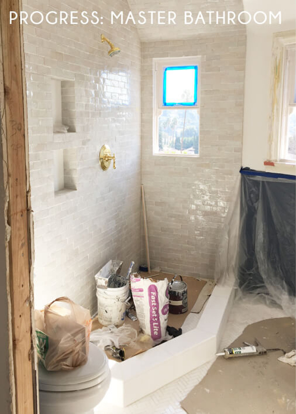 Emily Henderson's bathroom with textured tiles | Hello Victoria